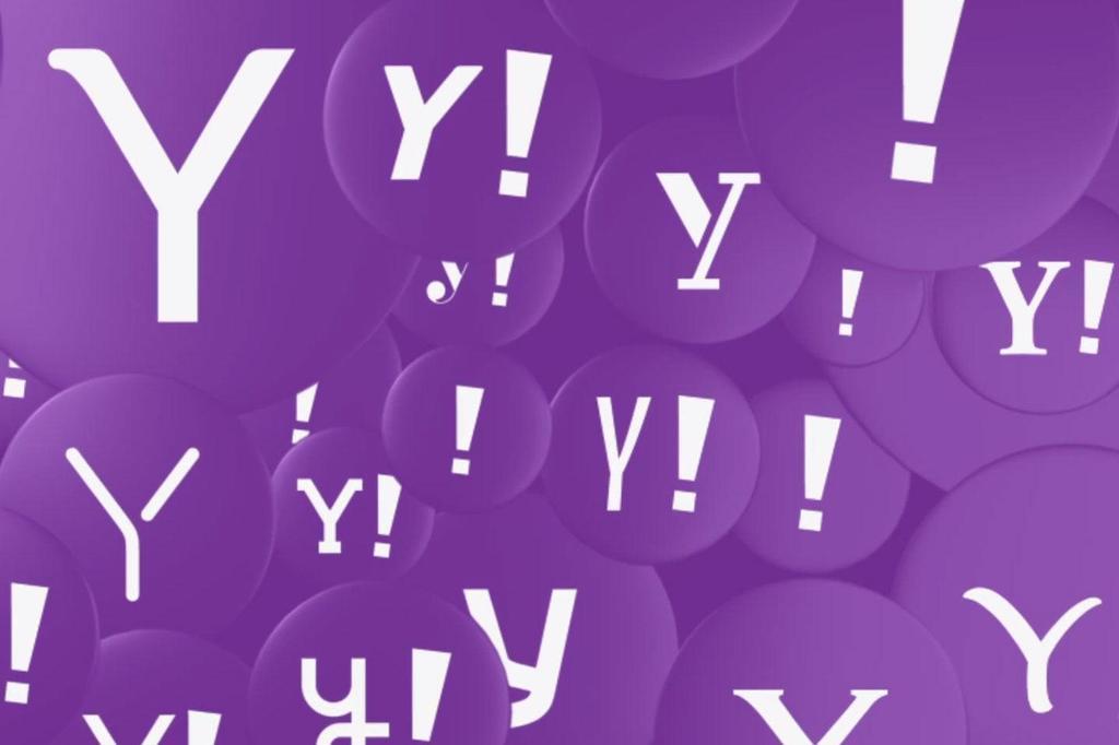 Yahoo en globos púrpura