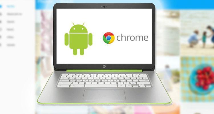Chromebook con Android en pantalla