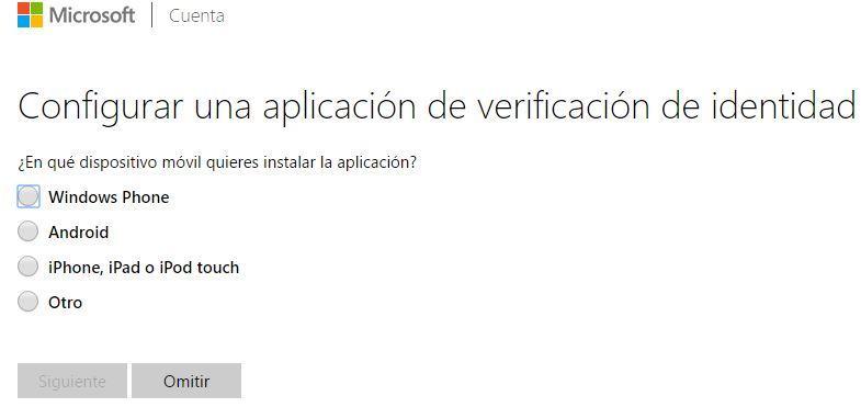 Dispositivos para establecer la verificación en dos pasos en las cuentas de Microsoft