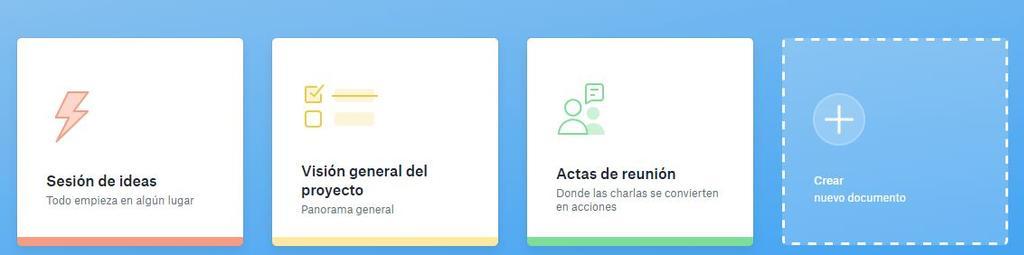 Opciones de inicio de Dropbox Paper