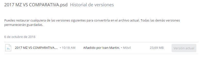 Historial en Dropbox
