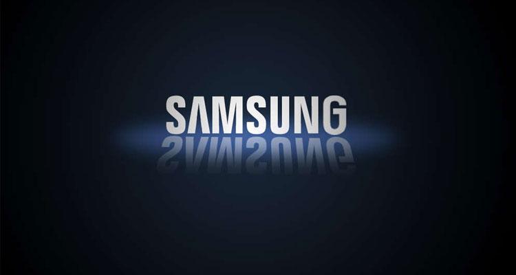 Logotipo de la compañía Samsung con fondo negro