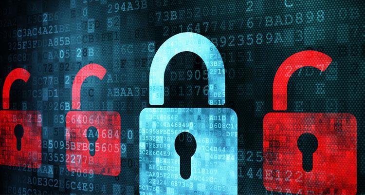Privacidad con candados y fondo con números
