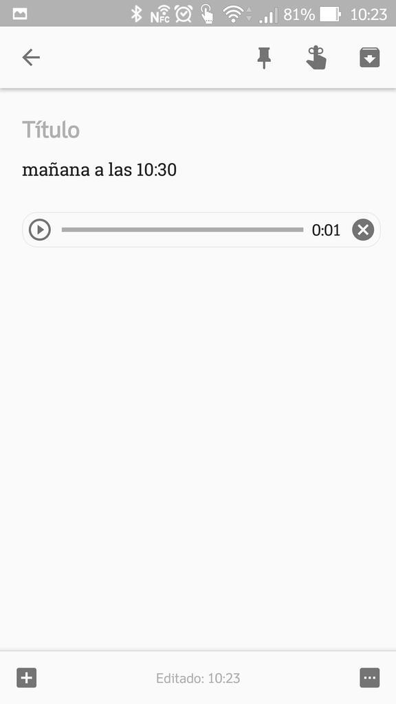 Resultado final al tomar notas con Google Keep utilizando sólo la voz