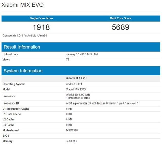Terminal Xiaomi Mi MIX en prueba Geekbench