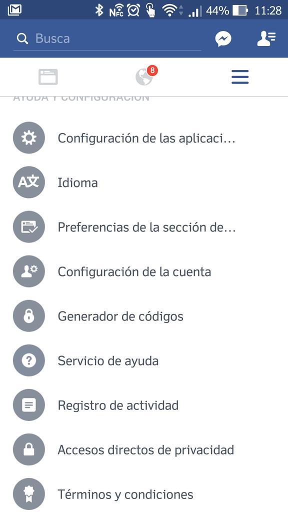 Configuración de la aplicaicón Facebook