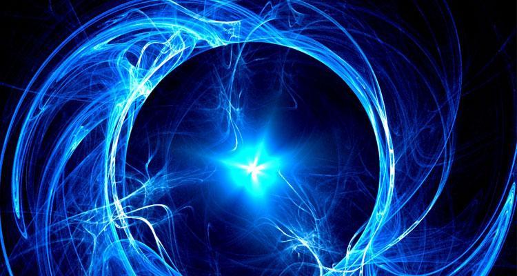 Haz de energía con fondo azul