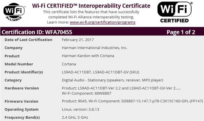 Certificación WiFi para el altavoz Harman Kardon con Cortana