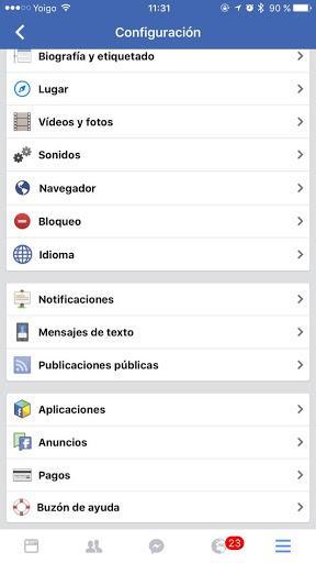 Configuración Facebook en iOS
