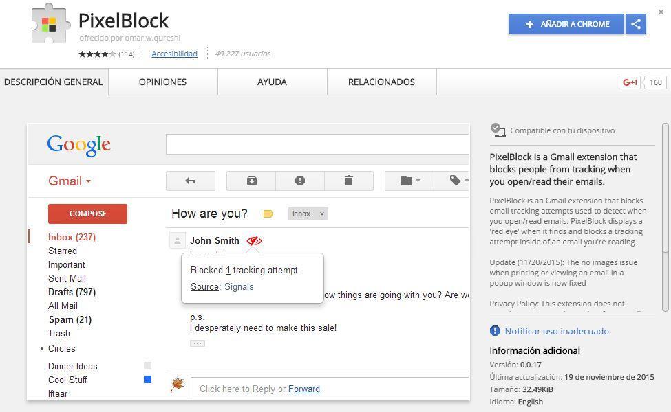 Extensión PixelBlock para evitar que nadie sepa o rastree si lees un correo