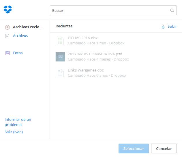 Seleccionar imágenes en Dropbox para Boxpx