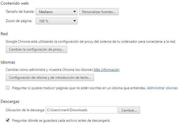 Apartado Descargas en el navegador Chrome