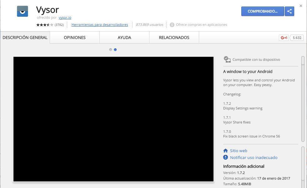 Descarga de la extensión Vysor para Chrome