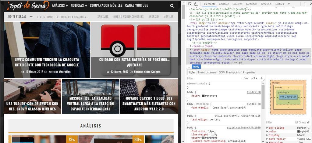 Opciones de desarrollador en Google Chrome