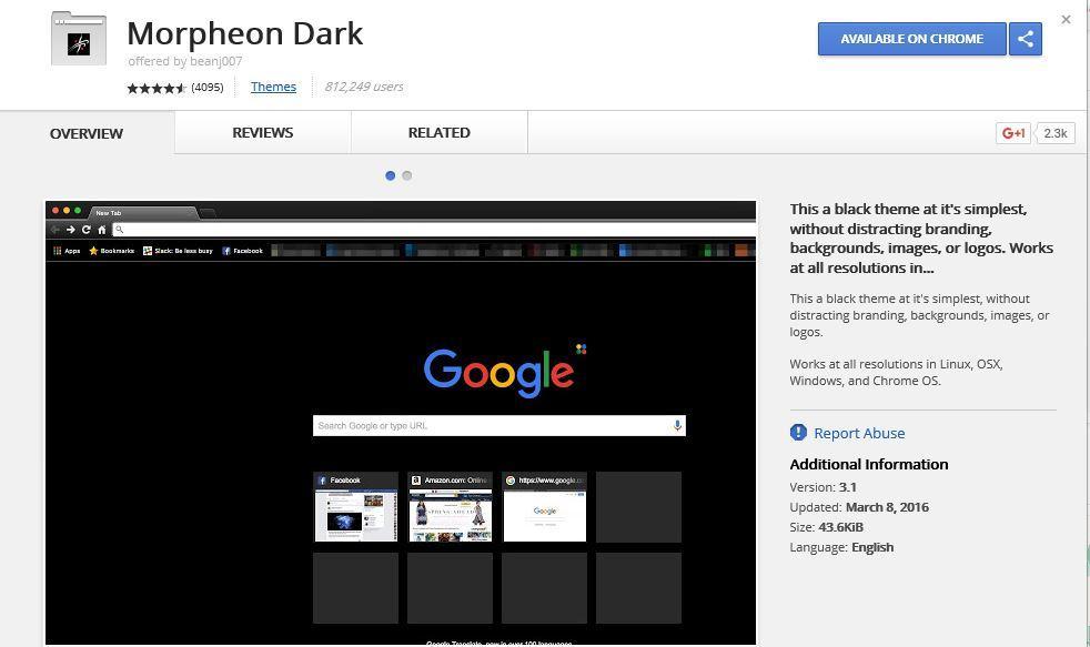 Extensión Morpheon Black apra Google Chrome