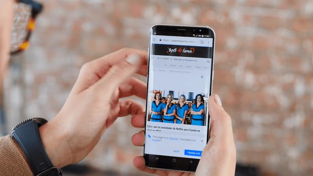 Interacción con la pantalla del Samsung Galaxy S8