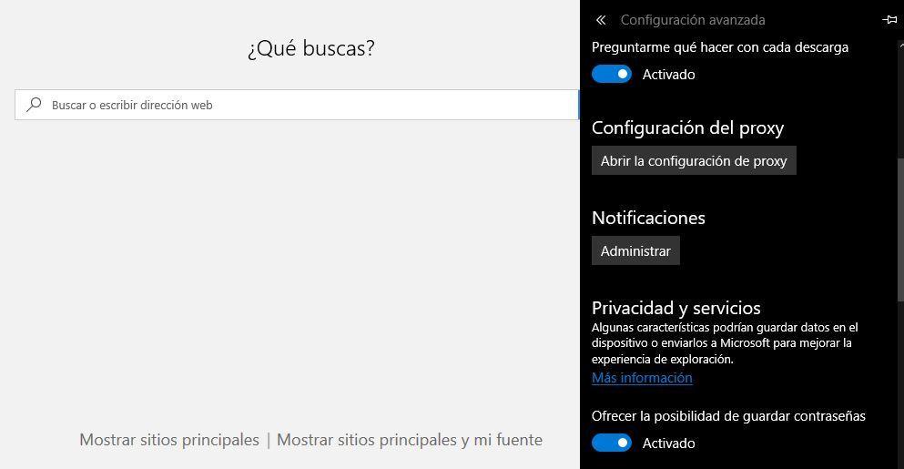 Geetión contraseñas en Microsoft Edge