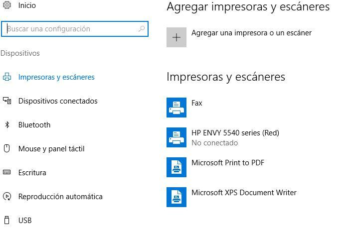 Acceso a dispositivos para eliminar la impresión de un documento en Windows 10