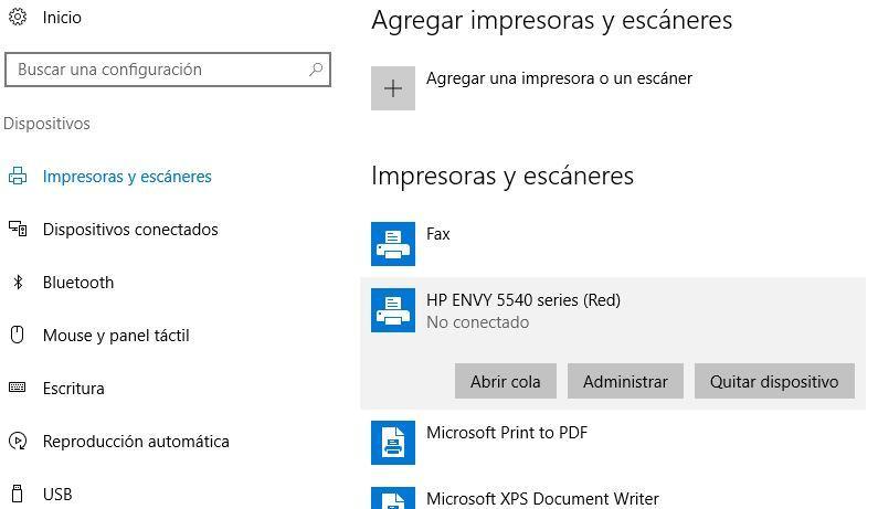 Opciones para eliminar la impresión de un documento en Windows 10