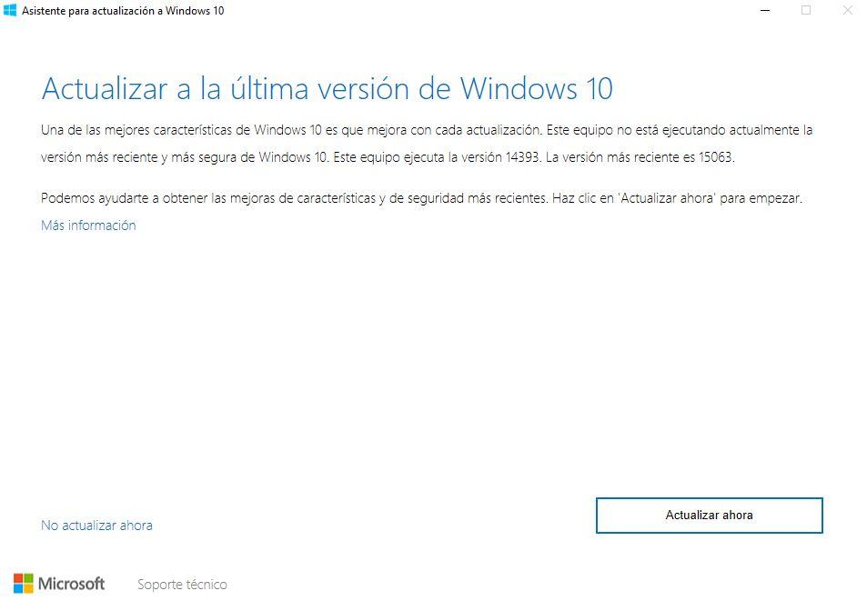 Inicio de asistente e instalación de Windows Creators Update
