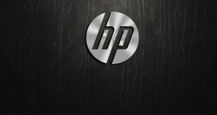Logo de HP con fondo negro