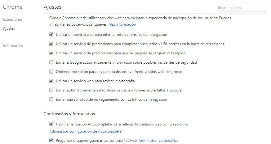 Contraseñas en Google Chrome