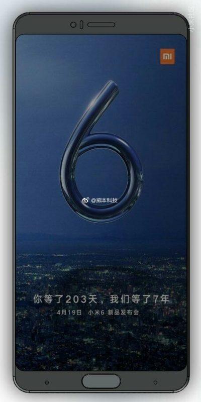 Imagen frontal del Xiaomi Mi 6