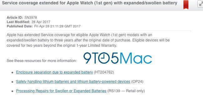Nueva cobertura garantía de batería en Apple Wacth