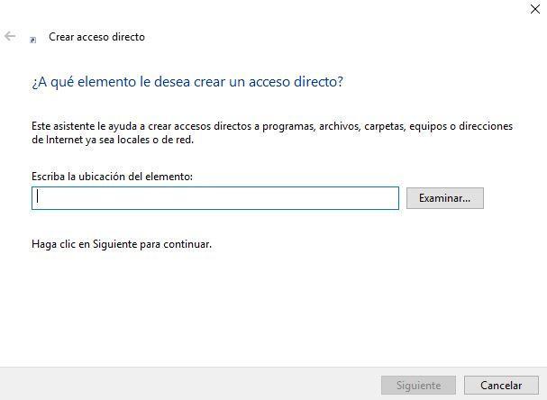 Creación de acceso directo en Windows 10 Creators Update