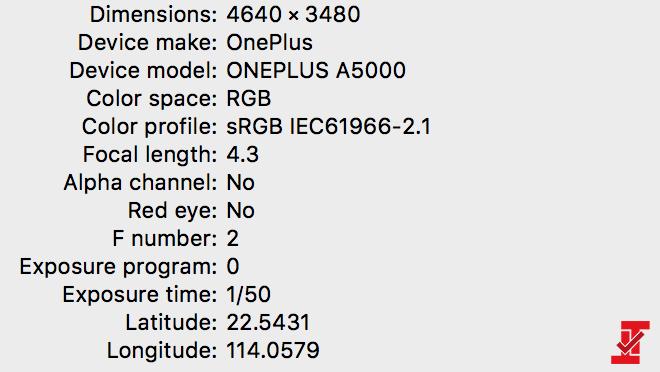 Datos EXIF en una foto hecha con el OnePlus 5