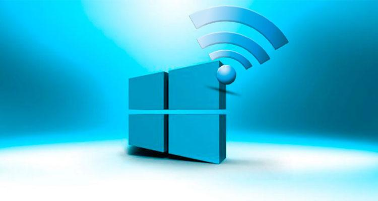 Logotipo de Windows y conexión WiFi con fondo azul