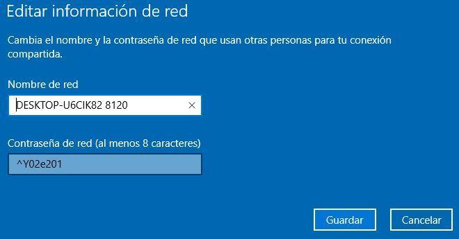 Nombre y contraseña al crear punto accso en un ordenador con Windows 10
