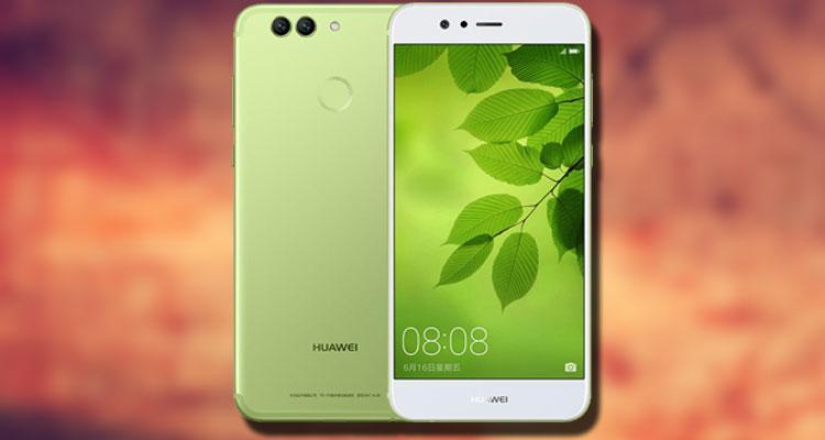 Huawei Nova 2 verde con fondo rojo