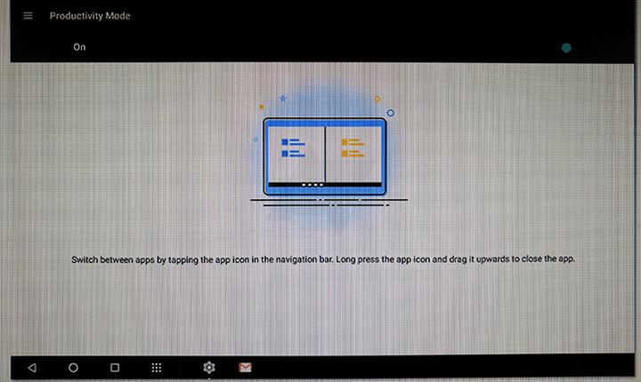 Modo de productividad en el tablet de Motorola Moto 2017