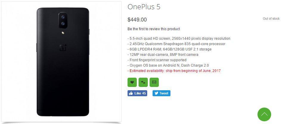Precio y características del OnepLus 5 en Oppomart