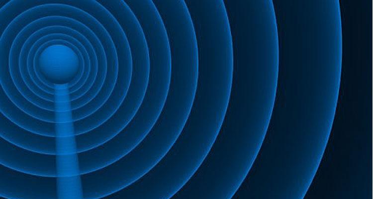 Ondas WiFi con fondo azul