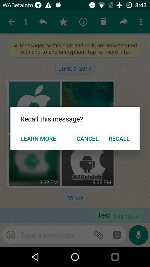 Borrar una mensaje en WhatsApp
