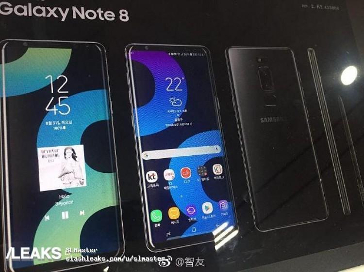 Posible diseño del Samsung Galaxy Note 8 visto en póster de presentación