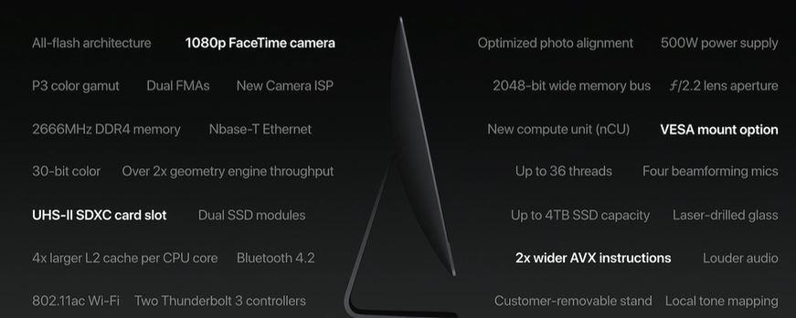 Opciones incluidas en el iMac Pro WWDC 2017