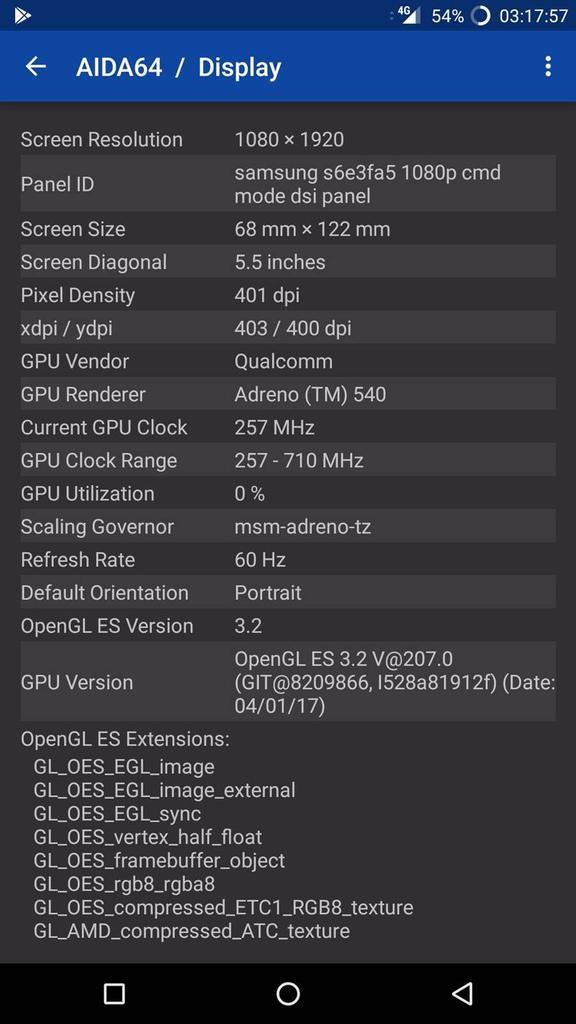 Información del panel del OnePlus 5