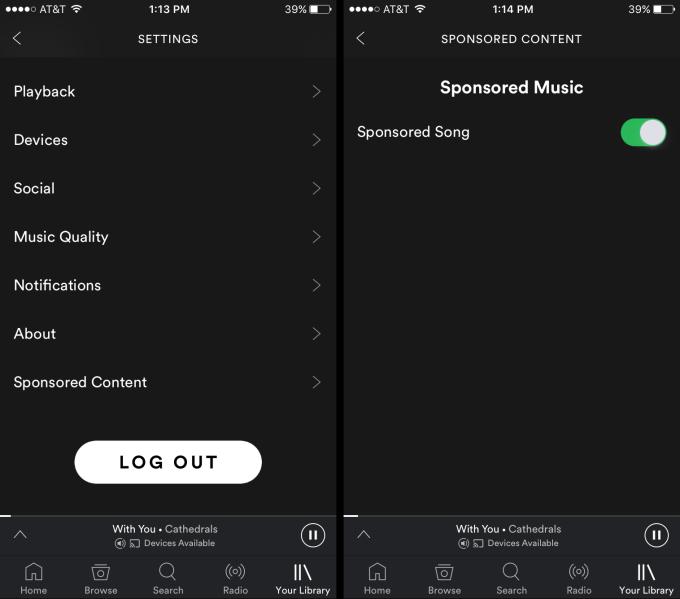 Gestión canciones patrocinadas en Spotify