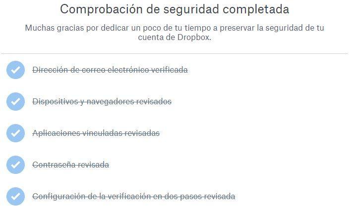 Comprobación seguridad de Dropbox finalizada