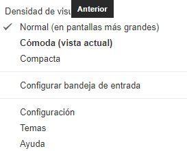 Opción Configuración en Gmail