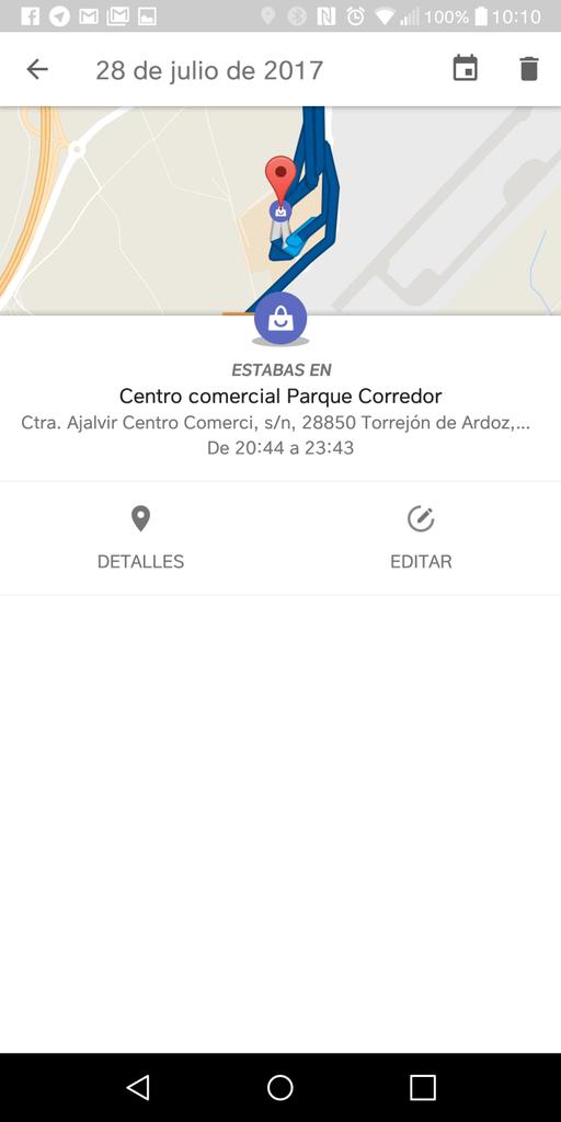 Localización en la cronología de Google Maps