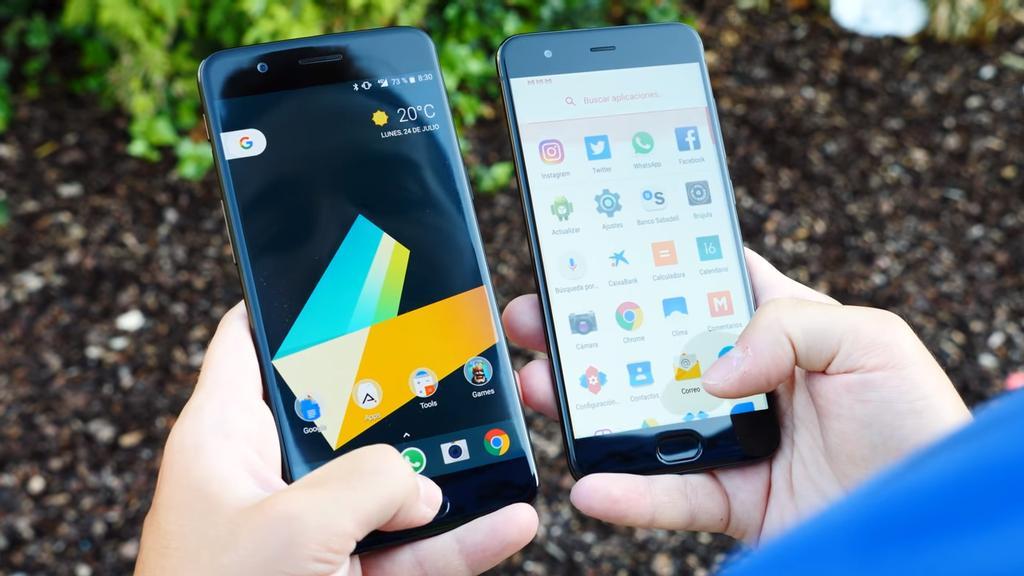 Frontal comparado del OnePlus 5 y el Xiaomi Mi 6