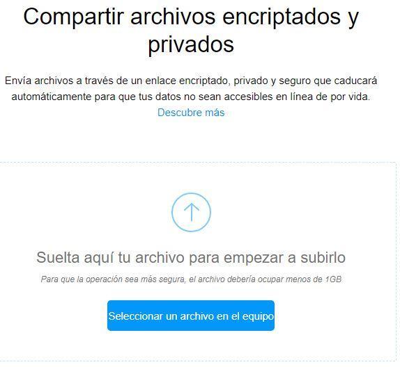 Interfaz de Send de Mozilla para comaprtir archivos que se autodestruyen
