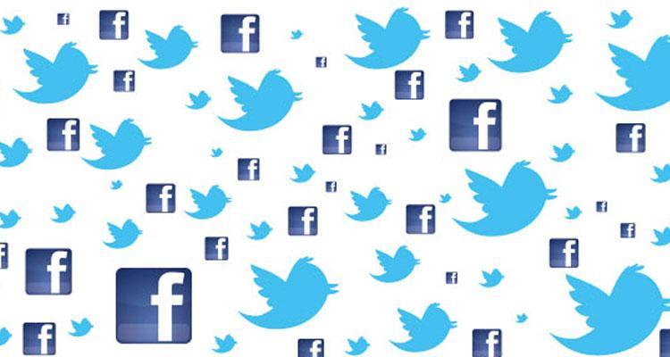 Logotipos de Facebook y Twitter