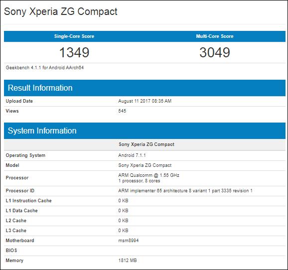 Resultado del Sony Xperia ZG Compact en Geekbench