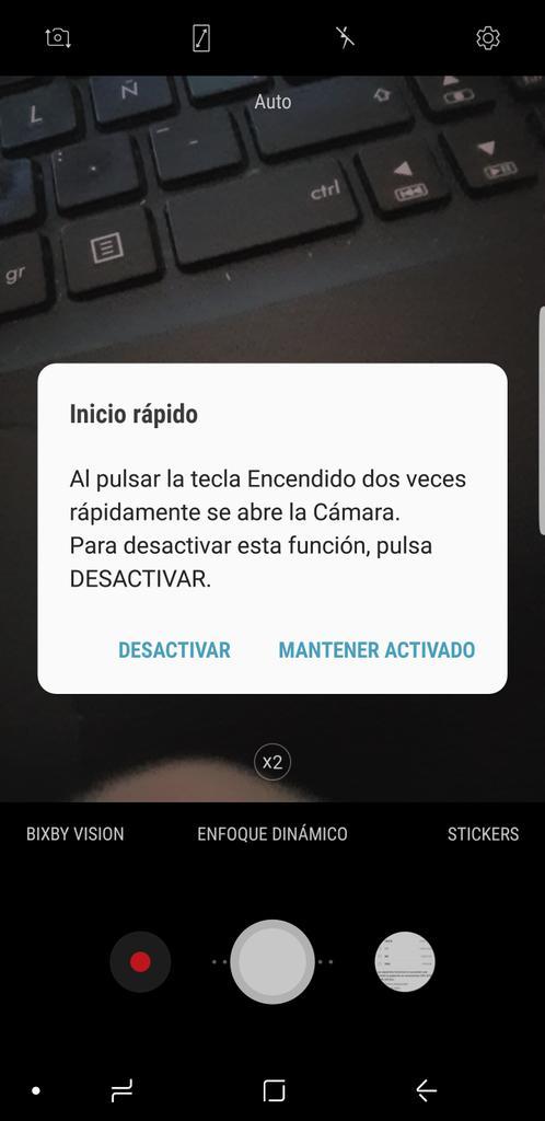 Apertura rápida de la cámara del Samsung Galaxy Note 8