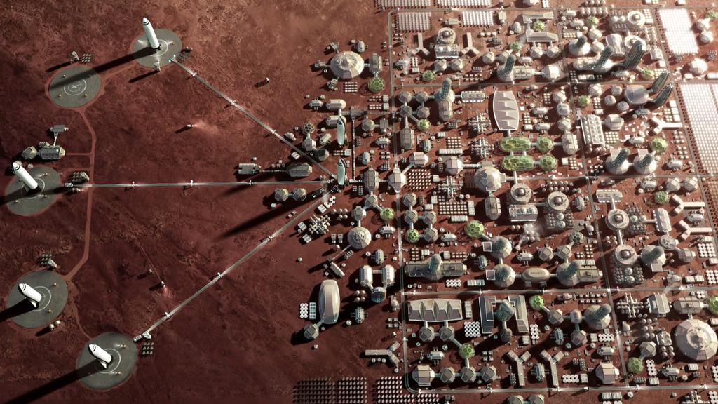 Ejemplo de ciudad en Marte de SpaceX